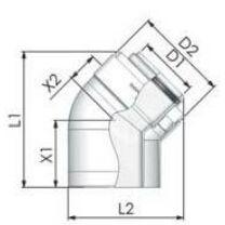 Tricox Alu/Alu könyök 60/100mm, 45° (2db)
