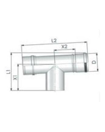 Tricox Alu ellenőrző T-idom 80mm, fehér