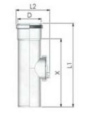 Tricox PPs ellenőrző egyenes idom 80mm